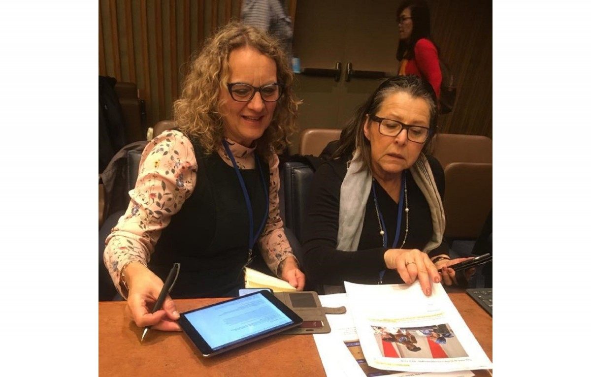 Members of the women unionists' delegation at work during UNCSW63.