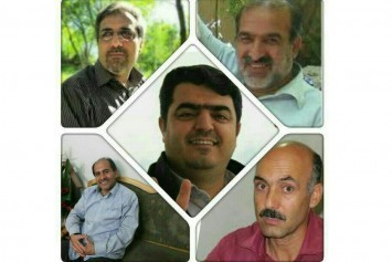 Esmael Abdi (center), Ali Akbar Baghani, Mahmoud Bagheri, Alireza Hashemi, and Rasoul Bodaghi, teachers imprisoned in Iran. And Mahmoud Bagheri, released on 17 August 2015.