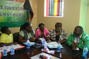 Activists of ZIMTA/Zimbabwe celebrating the Global Action Day on the Right to Strike.