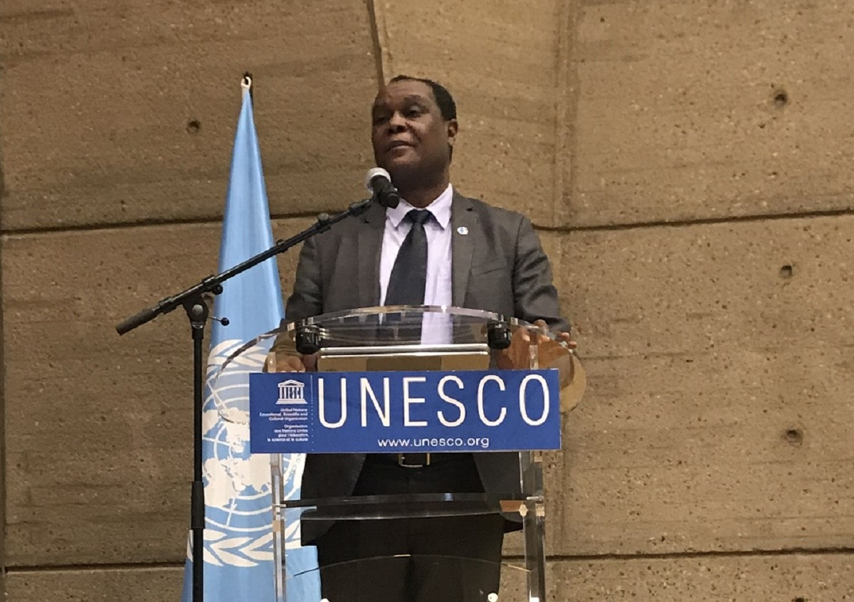 EI's Dennis Sinyolo speaking during the WTD 2019 event at UNESCO.