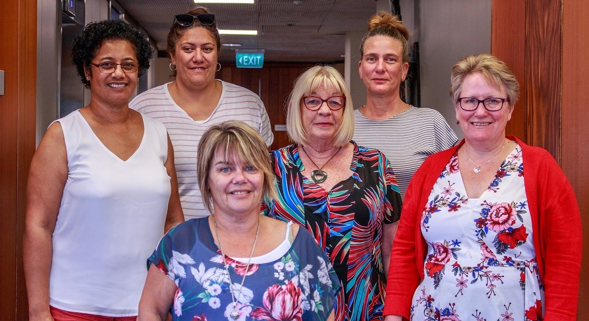 NZEI teacher aide pay equity negotiation team: (from l. to r.) Fa'a Sisnett, Annie Te Moana, Marcia Martin, Sue Poole, Ally Kemplen and Andrea Andrews.
