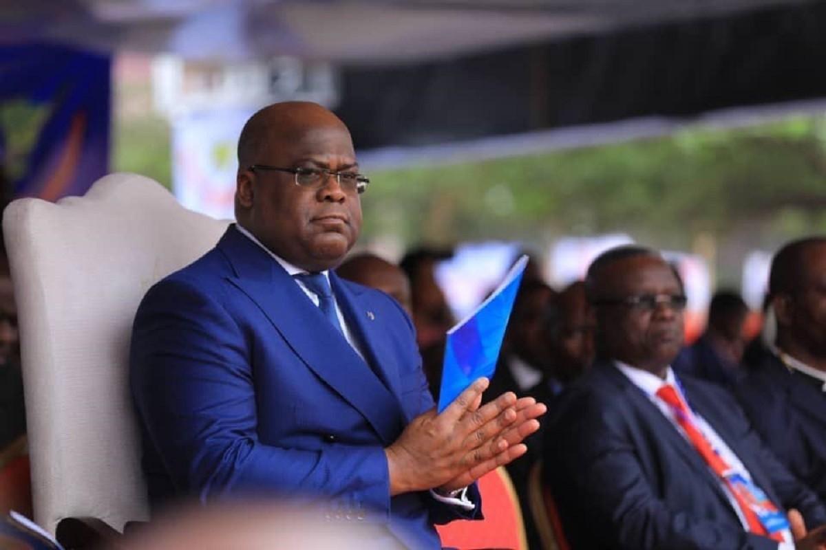 Le Président de la RDC Félix Tshisekedi lançant la rentrée scolaire au complexe scolaire Mokengeli de Lemba .