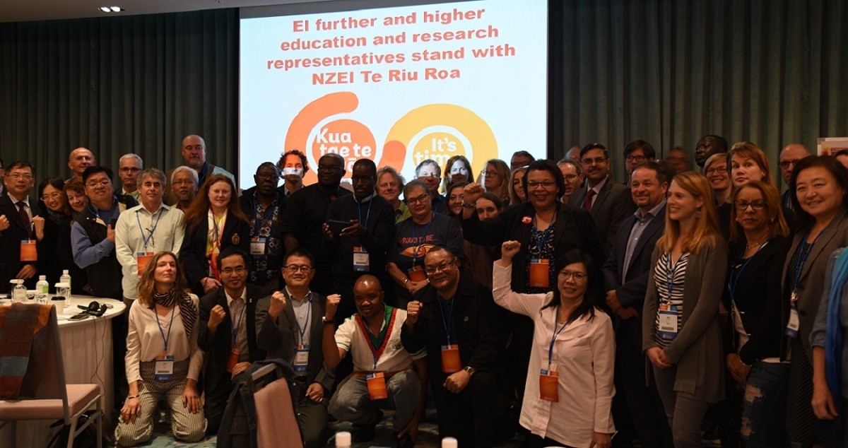 Participants to the 11th EI IFHERC in solidarity with colleagues in New Zealand.