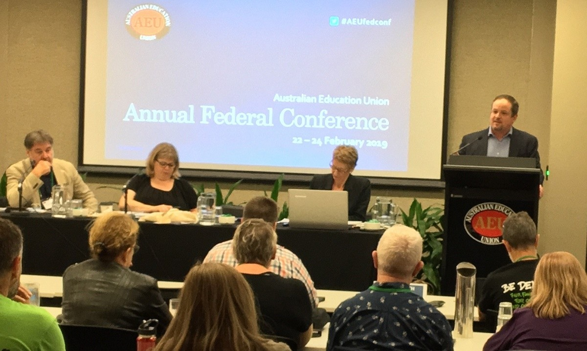 Education International's General Secretary David Edwards addressing delegates at the 2019 Australian Education Union's Federal Conference.