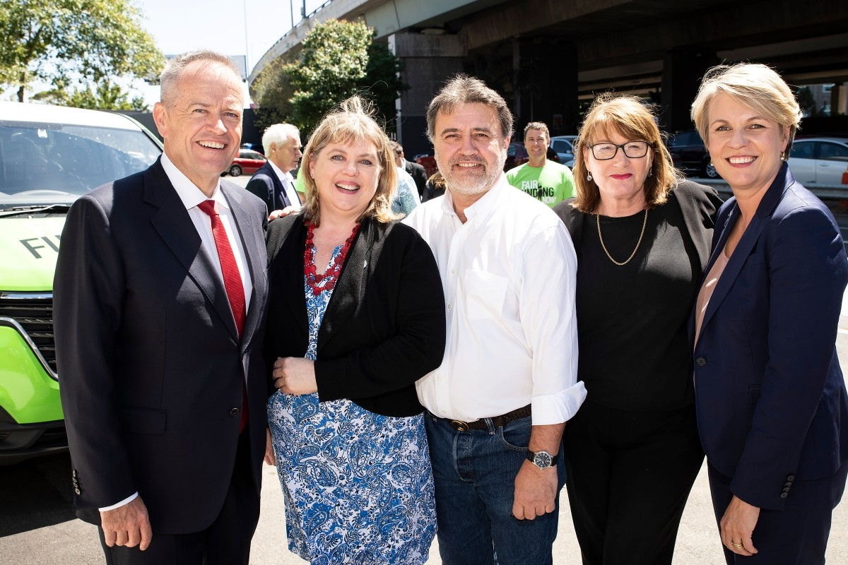 From l. to r.: Labor leader Bill Shorten, AEU Federal President Correna Haythorpe, Education International's Angelo Gavrielatos, an unidentified lady, and Labor Federal Education spokesperson (and Deputy party leader) Tanya Plibersek.