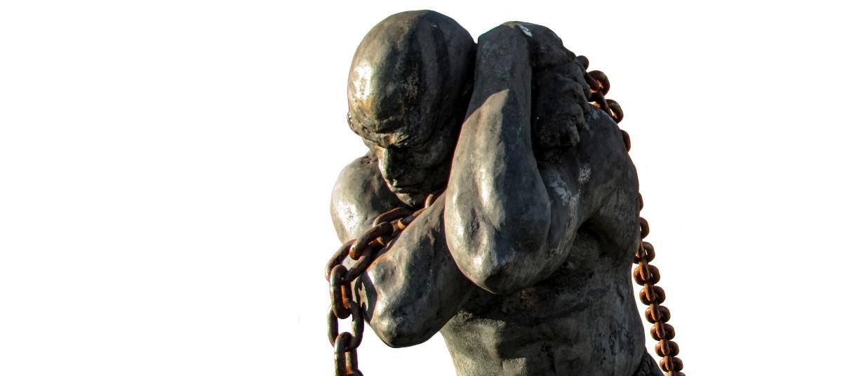 Statue of a Slave Carrying a Boat in Santana de Parnaíba, São Paulo, Brazil.