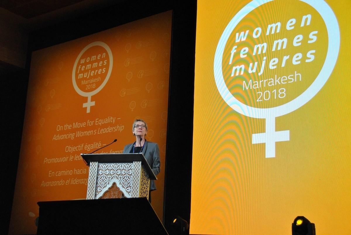 EI President Susan Hopgood addressing the EI 3rd World Women's Conference.