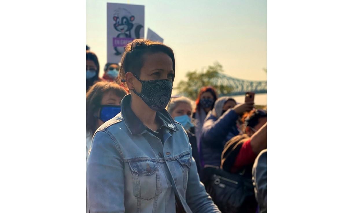 La présidente de la Fédération des intervenantes en petite enfance du Québec (FIPEQ-CSQ), Valérie Grenon, lors d'une manifestation pour la revalorisation du salaire des éducatrices.